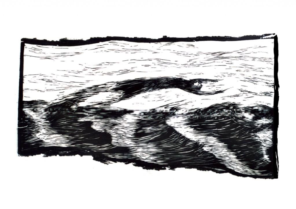 Holzschnitt Wellenflug