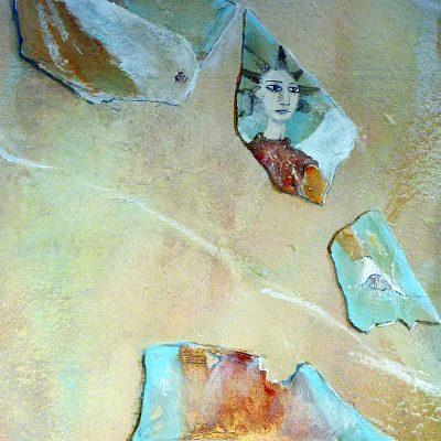 Wand marmoriert mit aufgemalten Scherbenfragmenten (Engel Gabriel)  Acryl/Mauer