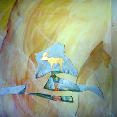 Wand marmoriert mit aufgemalten Fragnenten  (Goldenes Kalb) Acryl/Mauer