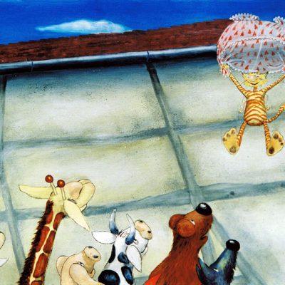 """X.  Endlich schwebt unser Kater runter vom Dach und ruft: """" Jungs und Mädels, was  macht  ihr für`n Krach?"""""""