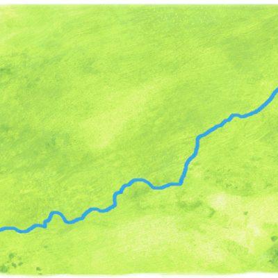 Grüner Kartenhintergrund (Aquarellfarbe) mit Donau (digitale Bildbearbeitung) mit Donau