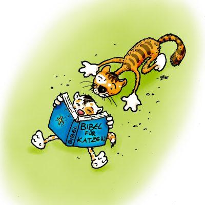 Die Katze wollte auch mal sehn, was darin für Sachen stehn. Der Kater sah es auch bald ein und schaute in die Bibel rein.