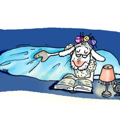 Manchmal hat das alte Schaf, Probleme mit dem Schlaf. Dann liest es bis es pennt - Neues Testament!